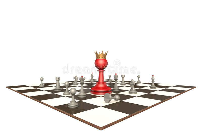 The new chief (chess metaphor). Many chess pieces and red pawn-king on a white background isolation royalty free illustration