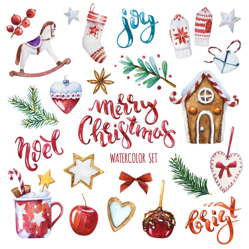 New christmas set. Bright watercolor Merry Christmas set of traditional decor and elements. Spices, decoration, cookies, gifts and plants. Elements of a royalty free illustration