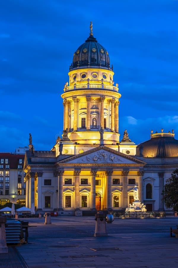 New Church Deutscher Dom or Neue Kirche on Gendarmenmarkt square at night, Berlin, Germany stock image