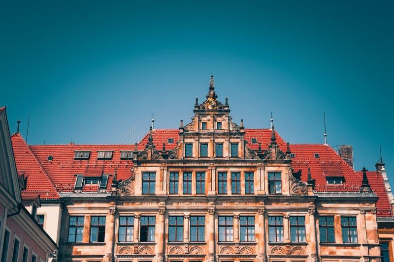 New City Hall facade in Goerlitz, Saxony, Germany royalty free stock photography