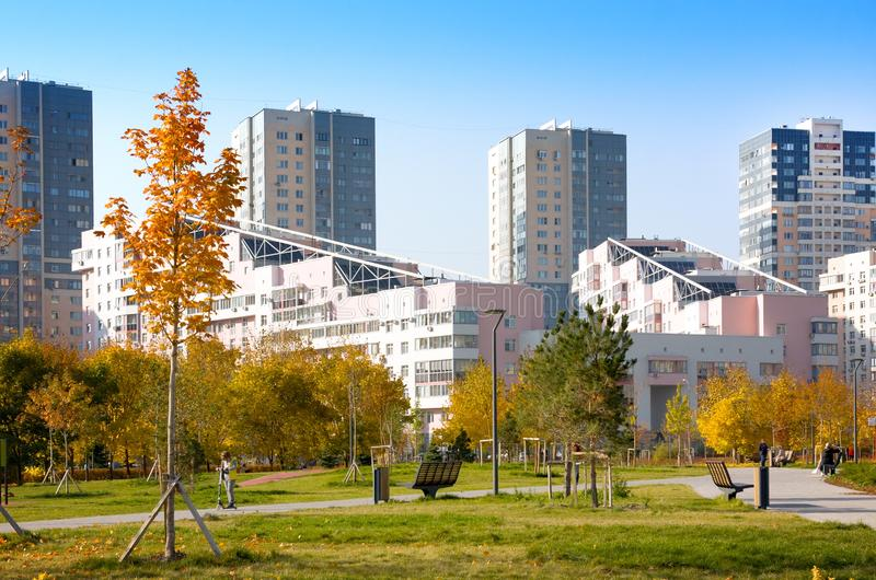 New city landscape park `Khodynskoe field` and modern skyscrapers, Moscow, Russia. It opened in september of 2018. Total area of p. Moscow, Russia - October 18 stock image