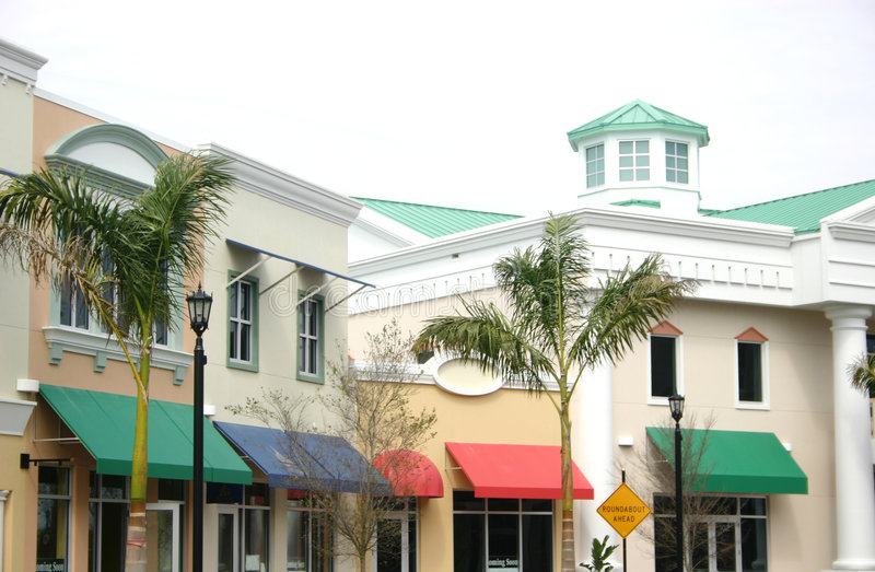 New City Site. Showing colorful awnings and interesting architecture in southwestern Florida stock image