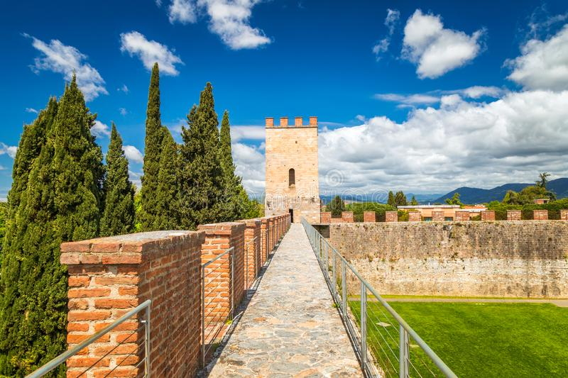 New city walls at the Cathedral Square in Pisa, Tuscany region royalty free stock photo