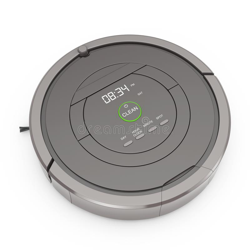 New Cleaning Technology Concept. Smart Robotic Vacuum Cleaner. 3. New Cleaning Technology Concept. Smart Robotic Vacuum Cleaner on a white background. 3d vector illustration