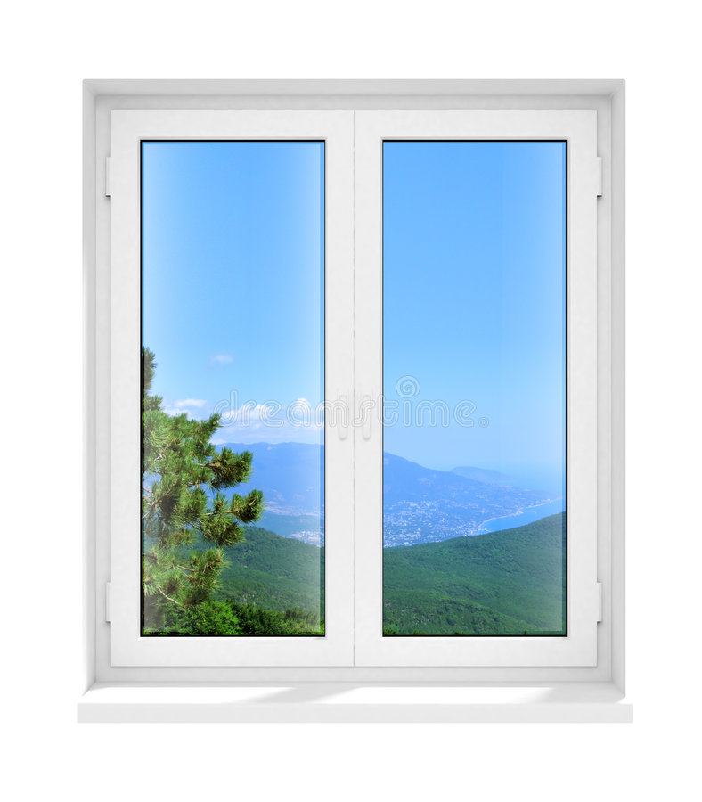 New closed plastic glass window frame isolated royalty free stock photography