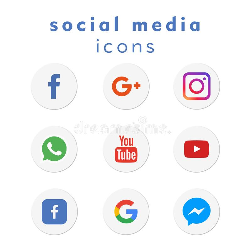 9 new logo-icons social media (vector). A new 2018 collection of 9 popular social media icons in circular shapes for use in print and web projects stock illustration