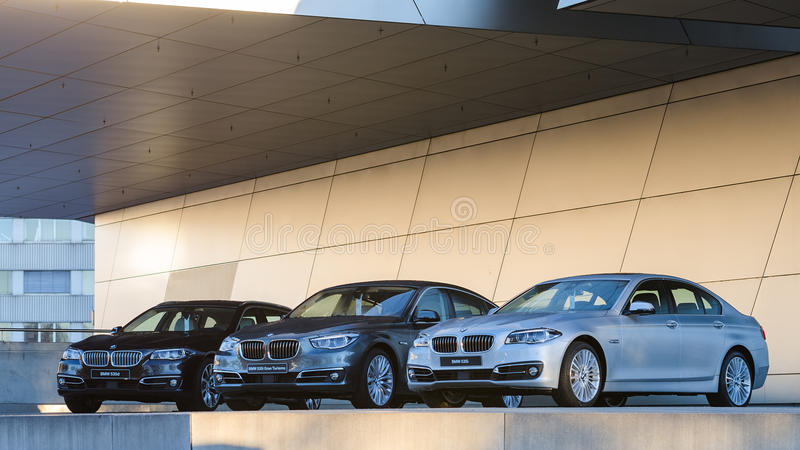 New collection of powerful BMW 535 business and family classes. MUNICH, GERMANY - DECEMBER 27, 2013: New collection of powerful BMW 535 business and family stock photo