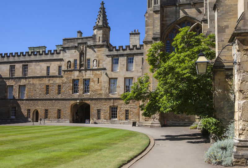 New College Oxford. A view inside a courtyard at New College in Oxford, England. It is one of the historic constituent colleges of Oxford University and where royalty free stock photo