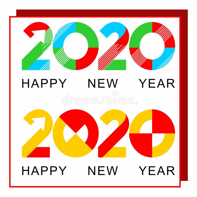 New color design logo happy new year 2020 royalty free stock photos