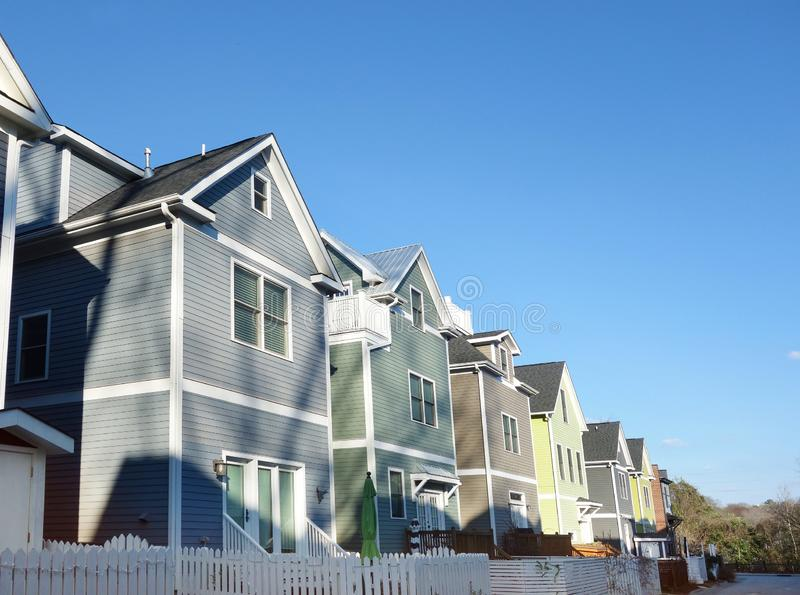 New colorful homes near downtown in Raleigh North Carolina royalty free stock photography