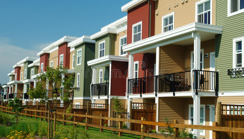 New Colourful Homes Row Houses royalty free stock photo
