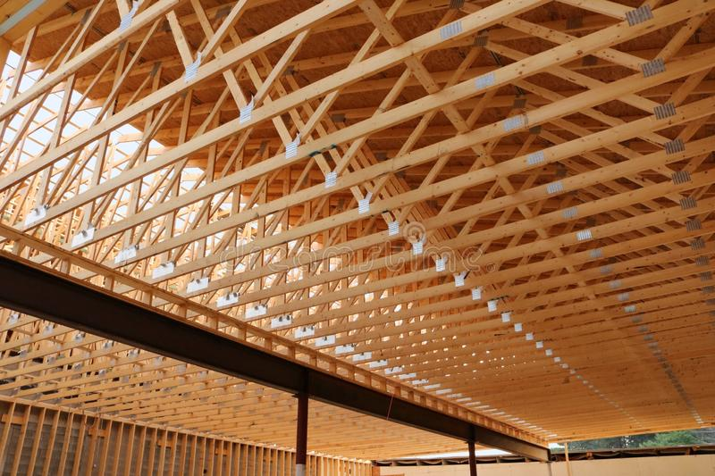 New commercial building roof under construction stock photos