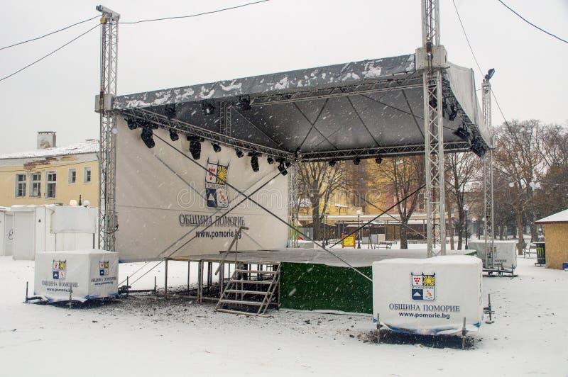 New concert platform in Pomorie, Bulgaria, winter stock photography