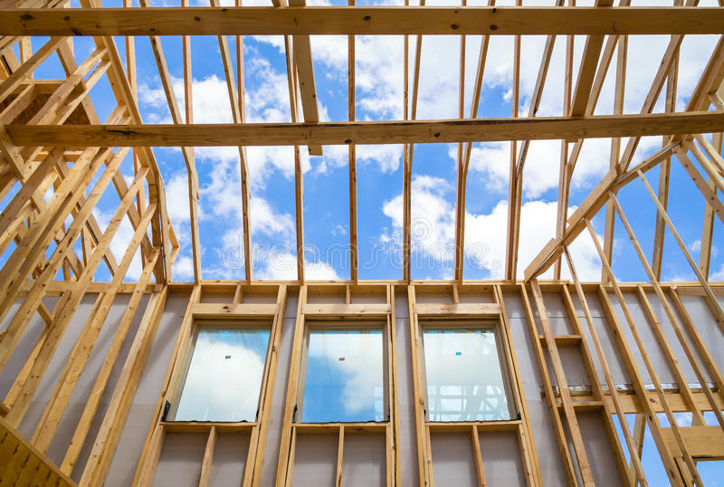New construction home framing royalty free stock photography