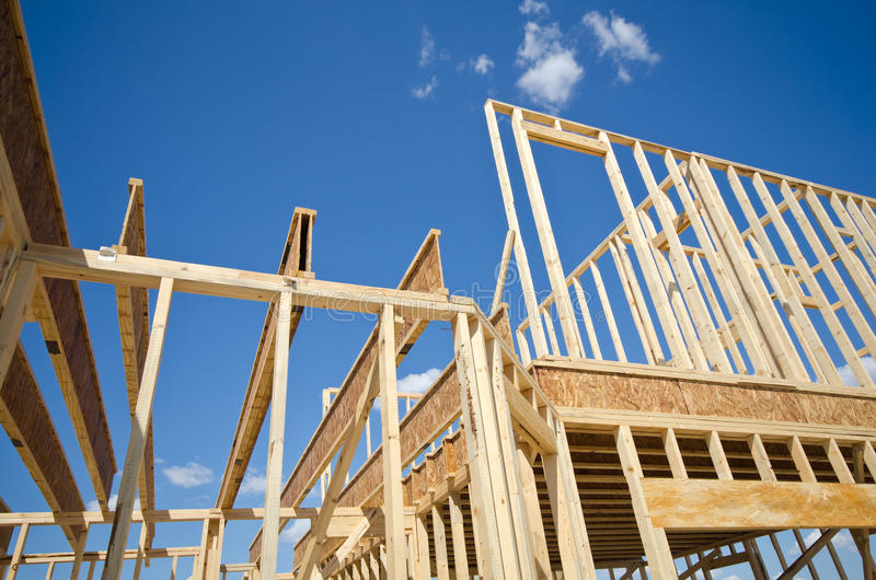 New construction home framing stock image