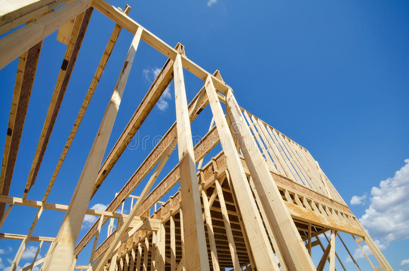 New construction home framing royalty free stock image