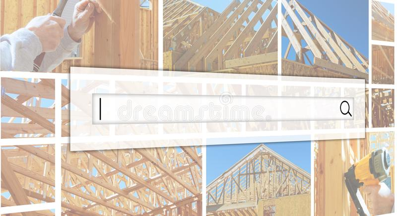 New construction residential home interior view photo collage Th. New construction residential home interior view New Home Construction Framed with Wood Studs royalty free stock photos