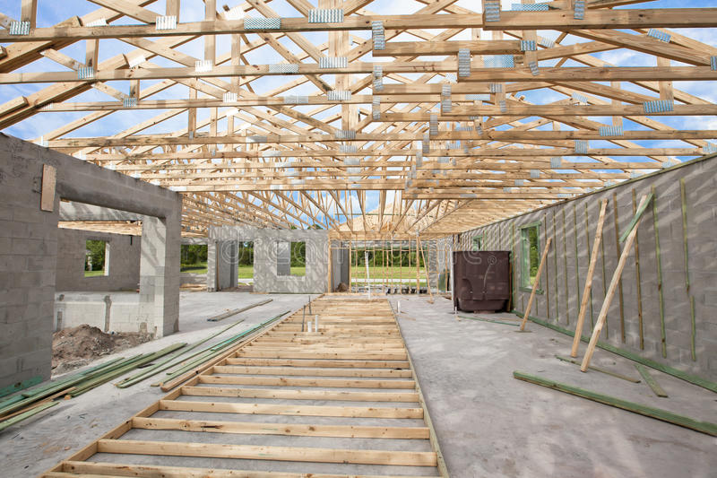 Download New Construction Roof Truss Stock Image - Image of framing, interior: 20594217