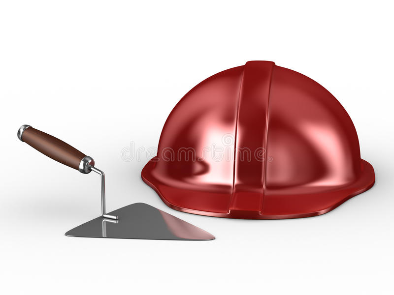 New Construction Trowel And Red Helmet Stock Photo