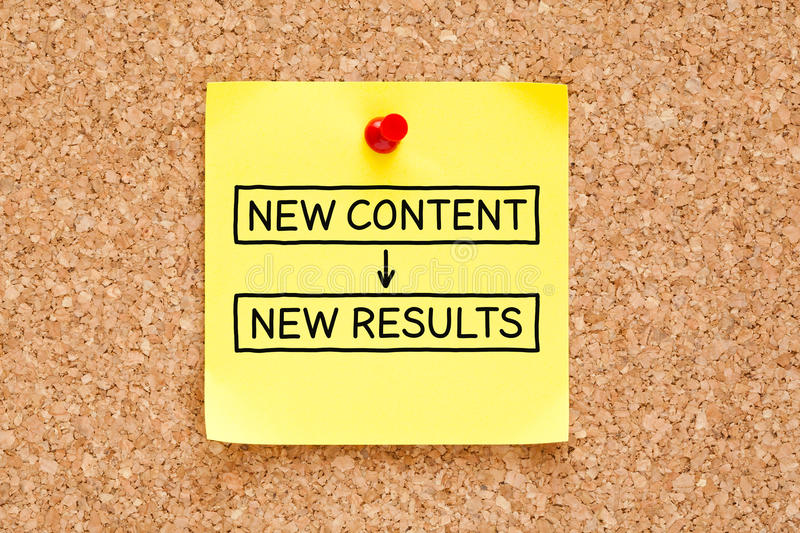 New Content New Results Sticky Note royalty free stock images