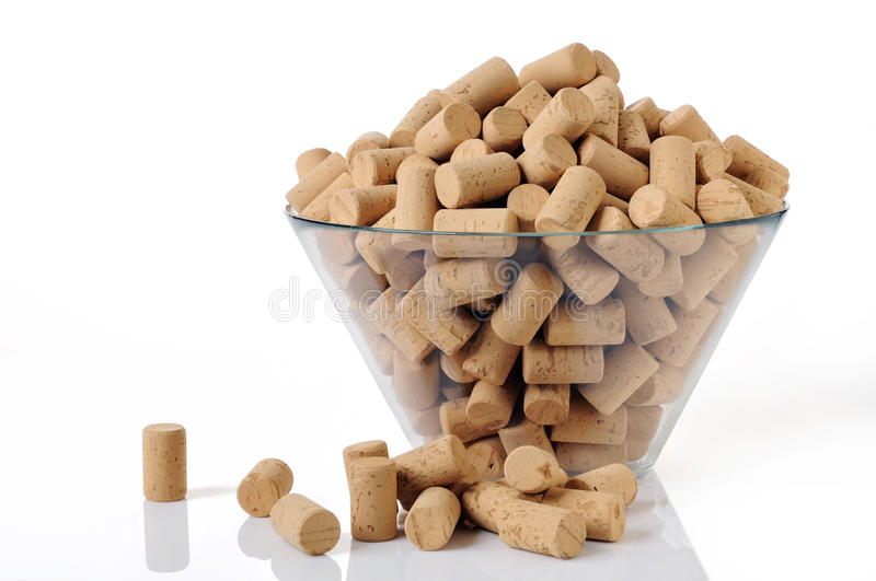 New corks in a bowl royalty free stock photography