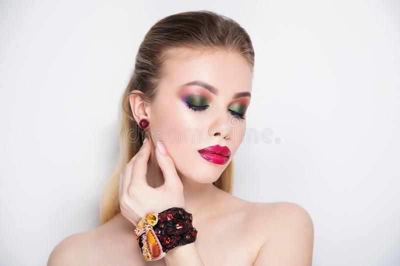 Woman bright make up perfect face stock image