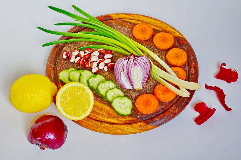 New crop, a dish of vegetables. Preparation of vegetable salad.The art of serving stock photos