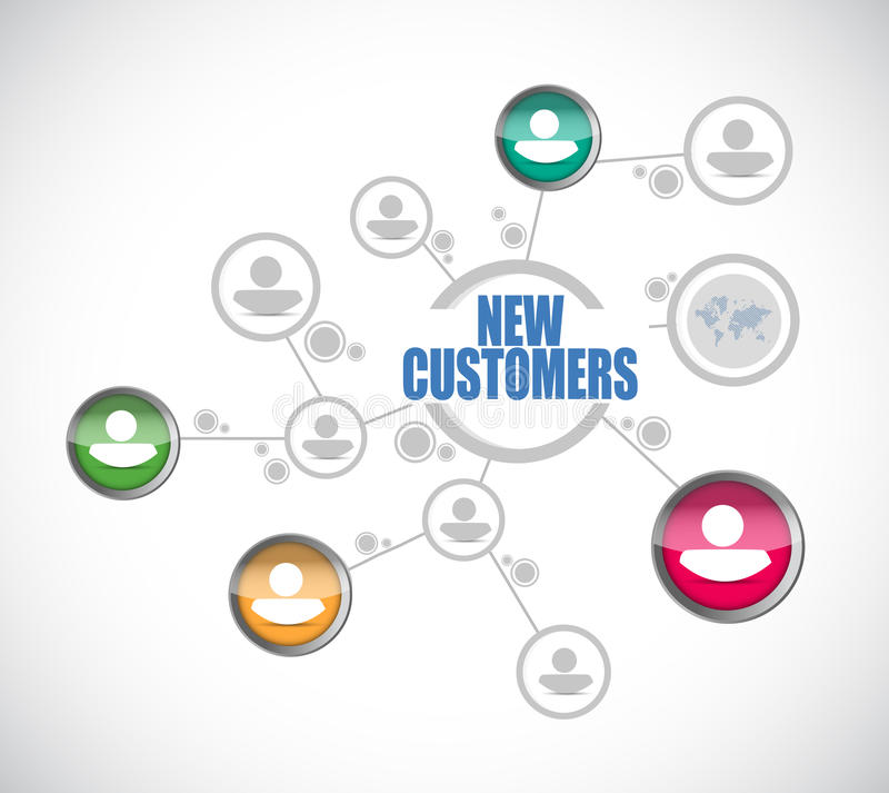 new customers people diagram sign concept stock illustration