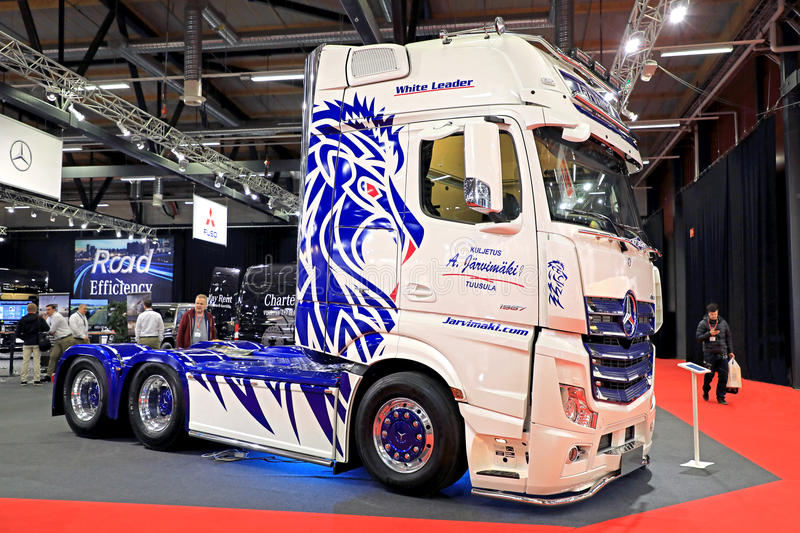 New Customized Mercedes-Benz Actros Super Truck on Display royalty free stock images