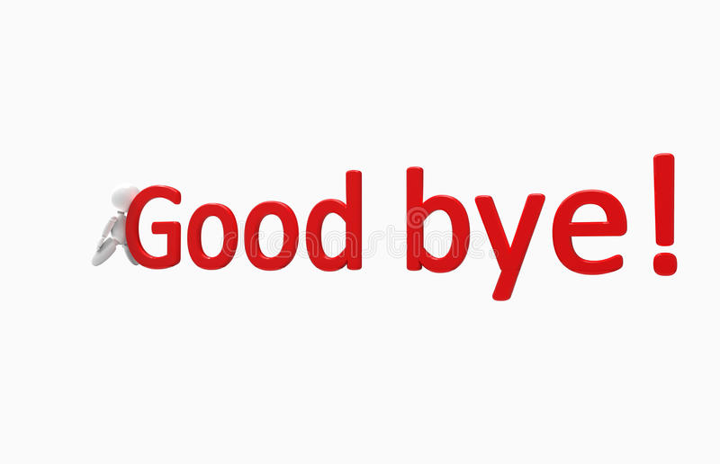 New 3D people - good bye. New 3D people pushes inscription stock illustration