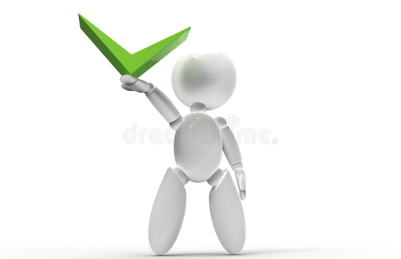 New 3D people - green check mark royalty free stock photo
