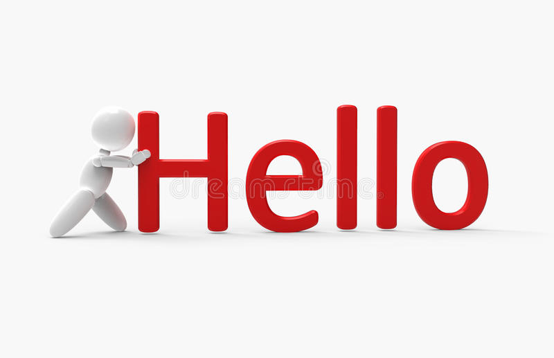 New 3D people - hello. New 3D people pushes inscription stock illustration