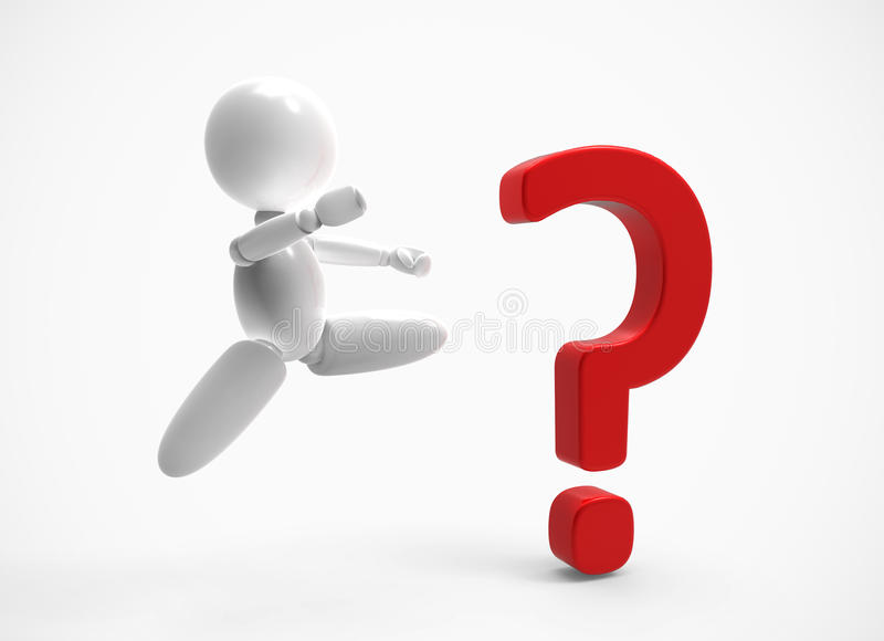New 3D people - question mark stock image
