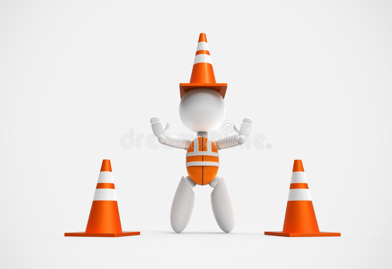 New 3D people - traffic cones stock images