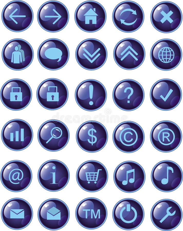 New dark blue web icons, buttons stock illustration