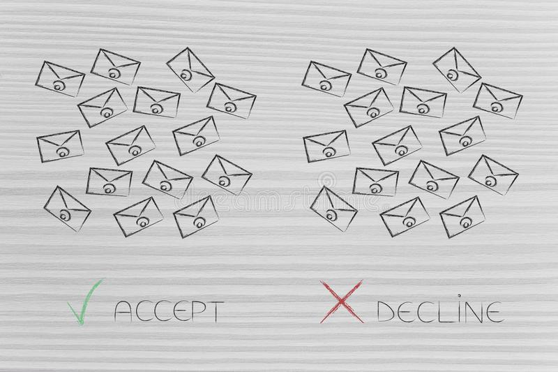 bunch of email newsletters with accept or decline update preference choice stock photos
