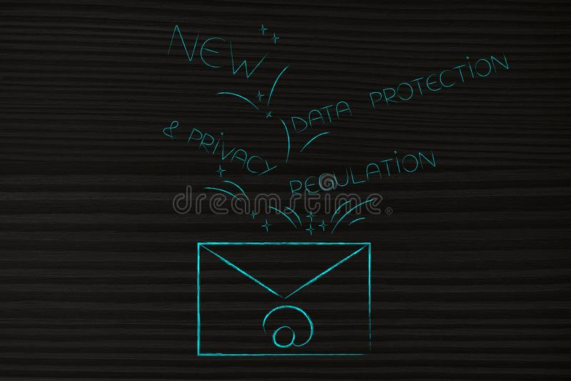 Email envelope with new privacy text popping out of it. New data protection regulations conceptual illustration: email envelope with new privacy text popping out stock photo