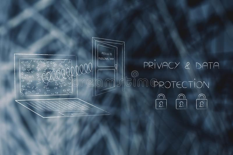 Laptop and door with access to personal data popping out of the. New data protection regulations conceptual illustration: laptop and door with access to personal royalty free stock photos