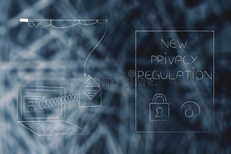 New privacy text next to laptop with emails popping out of the s. New data protection regulations conceptual illustration: new privacy text next to laptop with stock images