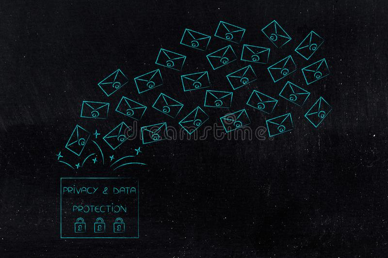 Privacy text with emails popping out of it. New data protection regulations conceptual illustration: privacy text with emails popping out of it stock images