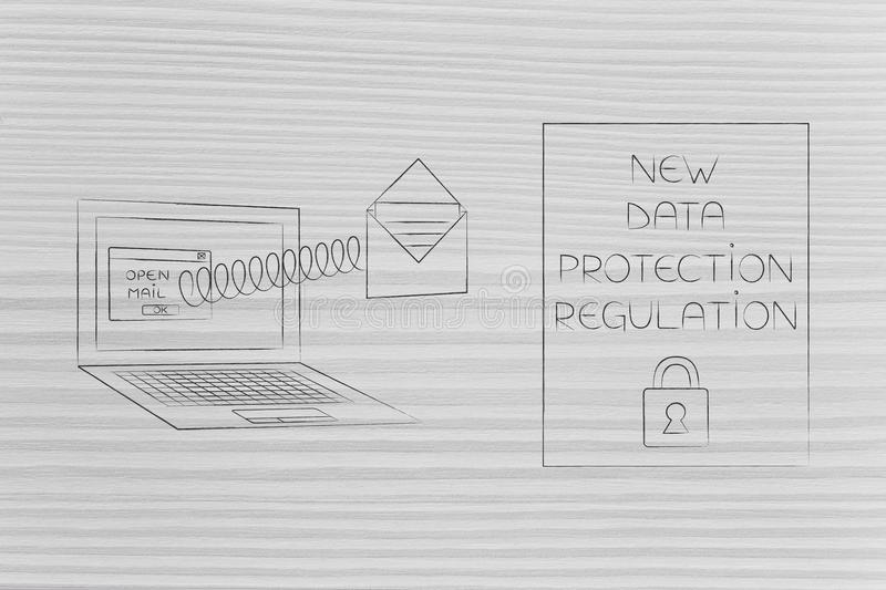 New data protection regulations laptop with email popping out of. New data protection regulations conceptual illustration: laptop with email popping out of the royalty free stock photos