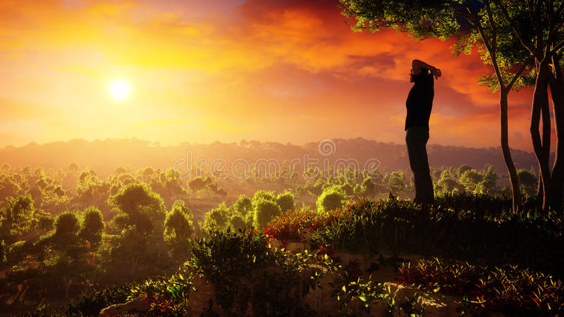 A New Day Of Hope Rises stock illustration