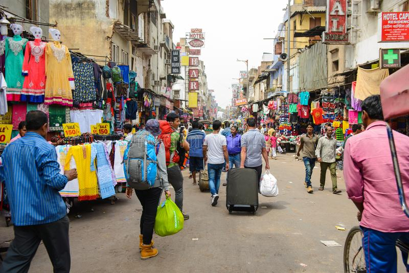 New Delhi, India April 10, 2016 : Paharganj street near central station railway. Popular spot for backpackers to stop before goin royalty free stock image