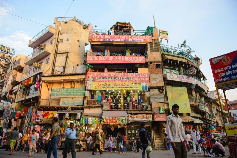 New Delhi, India - April 10, 2016 : Unidentified people visit Paharganj Main Bazaar market stock photo