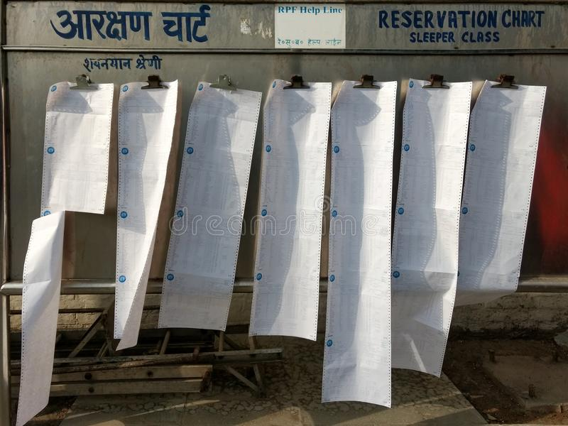 New Delhi, India - January 10, 2019 : Reservation Chart Board For Sleeper Class, Railway Station. New Delhi, India - January 10, 2019 : Reservation Chart Board stock photo