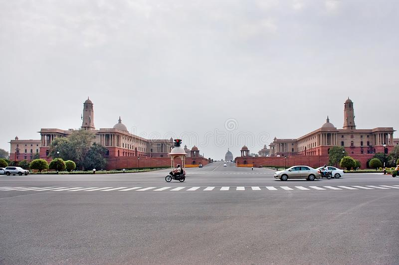 New Delhi, India - Jule 22: Rashtrapati Bhavan is the official home of the President of India. Cars moving on the road on Jule royalty free stock photos
