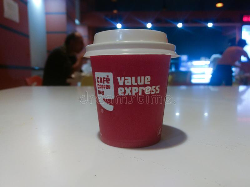 NEW DELHI, INDIA - March 25, 2019 : cafe coffee day coffee stock image