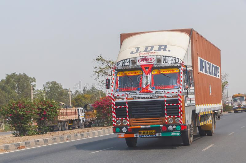 NEW DELHI, INDIA - MARCH 14, 2018: truck on the road. From New Delhi to Jaipur royalty free stock photography