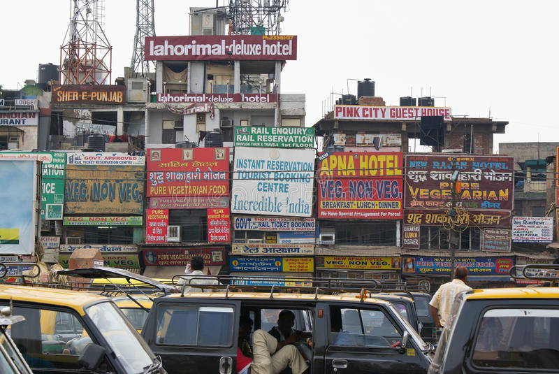 New Delhi tourist commercial street and taxis royalty free stock photos