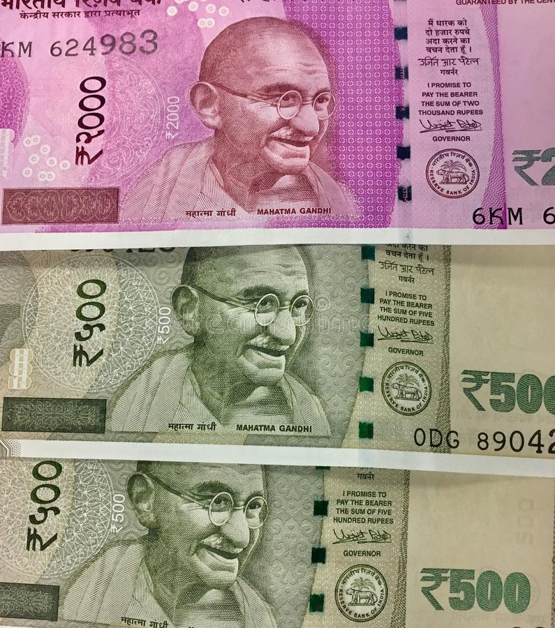 New 500 and 2000 denominations of Indian currency notes stock photo
